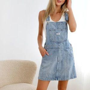 LEVI'S Norah Light Denim Skirtall Overalls Dress L